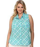 Roper - Plus Size 9590 Turquoise Ombre Plaid Sleeveless Shirt