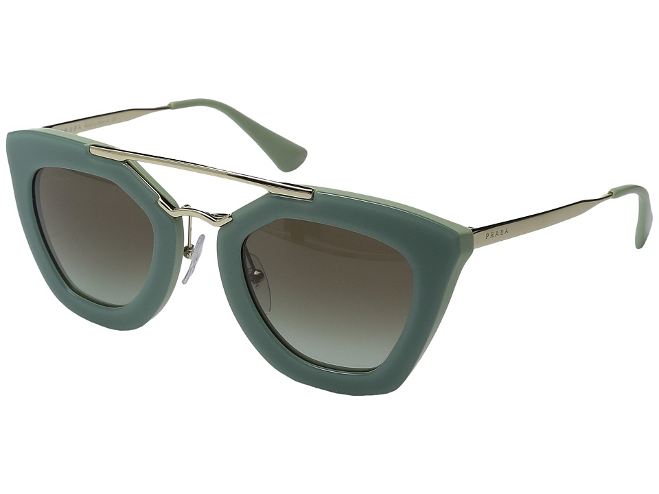 Prada - 0PR 09QS (Opal Dark Green/Green Gradient Grey) Plastic Frame Fashion Sunglasses