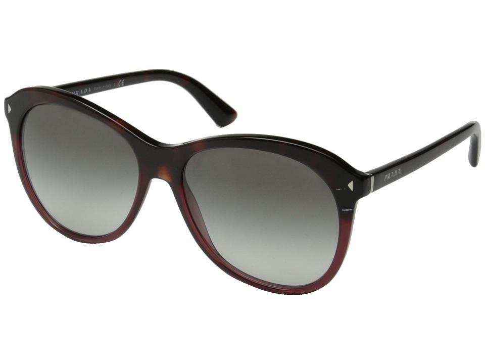 Prada 0PR 13RS Red Havana Gradient/Grey Fashion Sunglasses