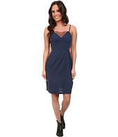 Roper - 9706 Navy Cotton Dress w/ Embroidery