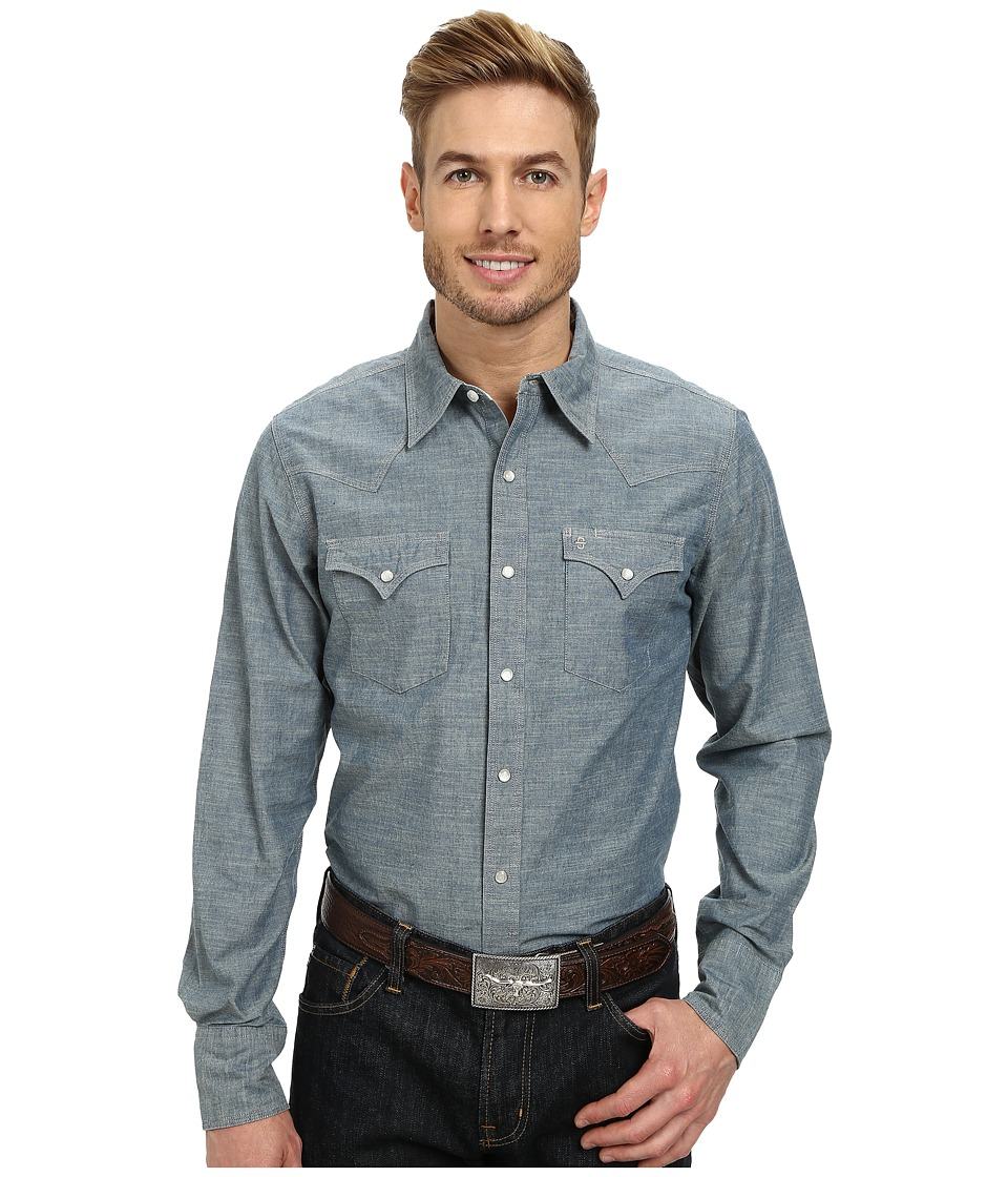 Stetson - 9621 Vintage Chambray Solid Blue Mens Long Sleeve Button Up $79.99 AT vintagedancer.com