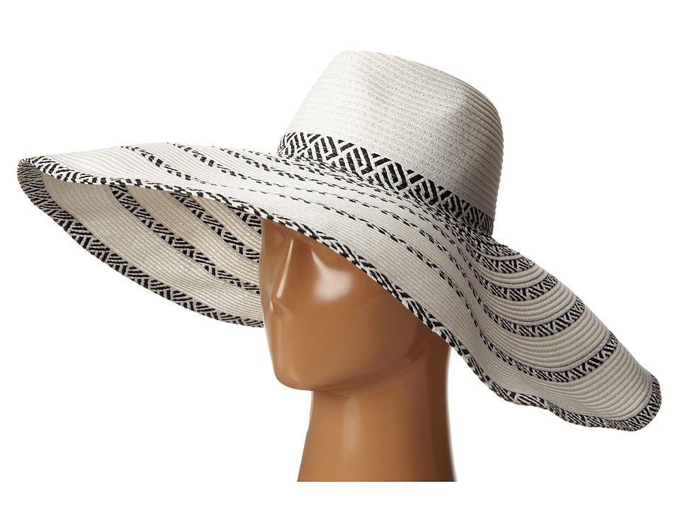 BCBGMAXAZRIA - Tribal Stripe Floppy Hat White Traditional Hats $68.00 AT vintagedancer.com