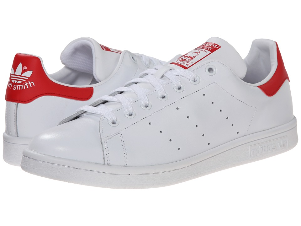 adidas Originals - Stan Smith (White/White/Scarlet) Mens Classic Shoes