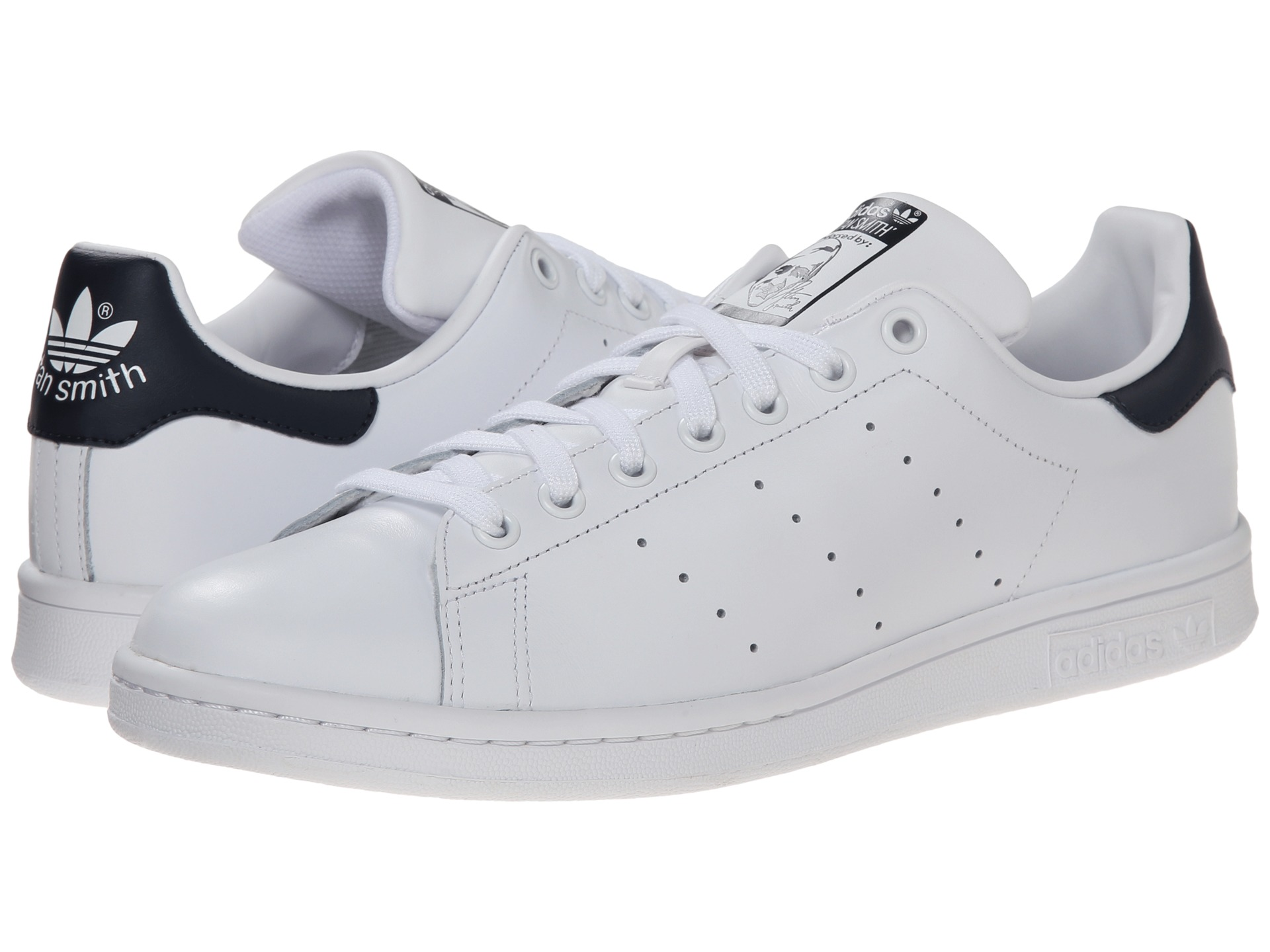 adidas originals stan smith white white navy free shipping both ways. Black Bedroom Furniture Sets. Home Design Ideas
