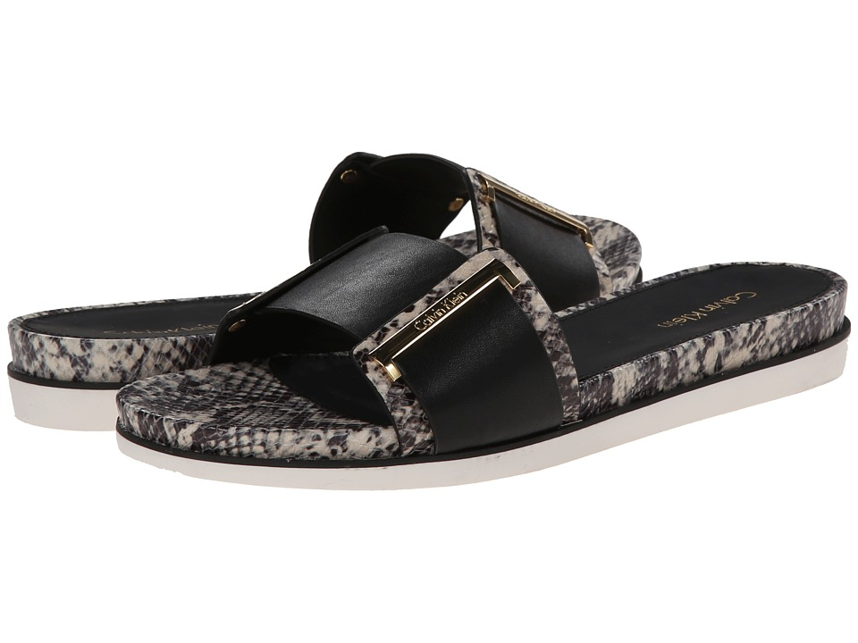 Shop Calvin Klein online and buy Calvin Klein Zizi Black/Black/White Multi Snake Womens Slide Shoes shoes online