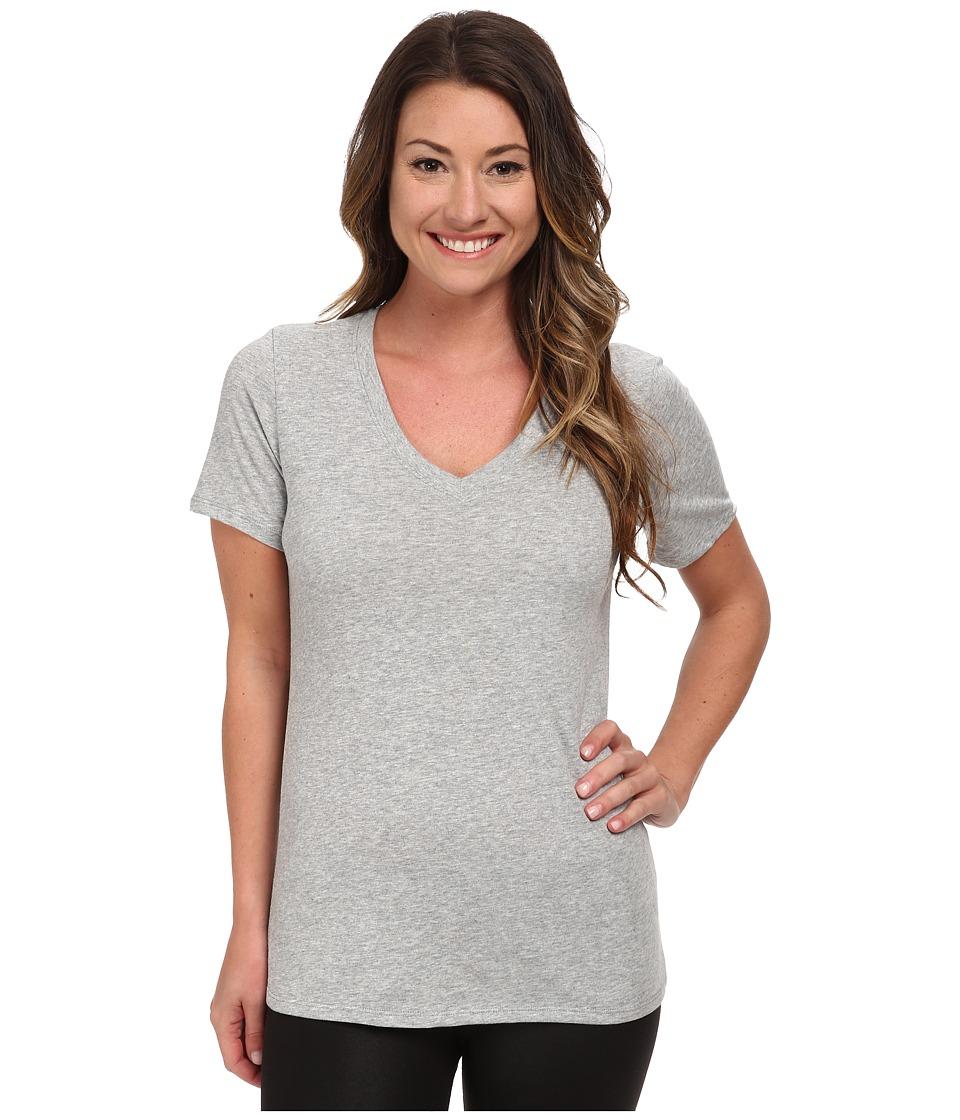 Nike Dri-FIT Cotton V-Neck Short Sleeve Tee (Dark Grey Heather/Medium Grey) Women