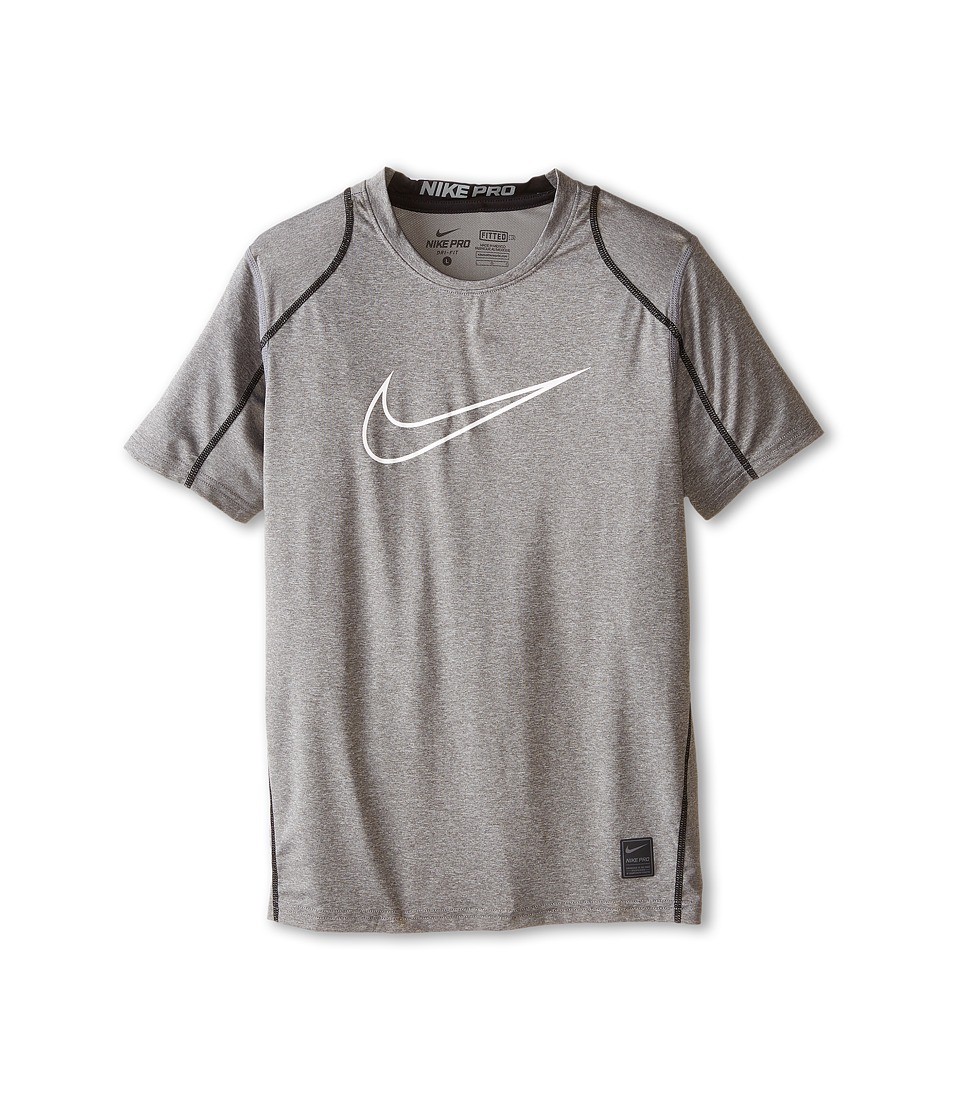 Nike Kids Cool HBR Fitted S/S Youth Little Kids/Bigs Kids Carbon Heather/Black/White Boys T Shirt