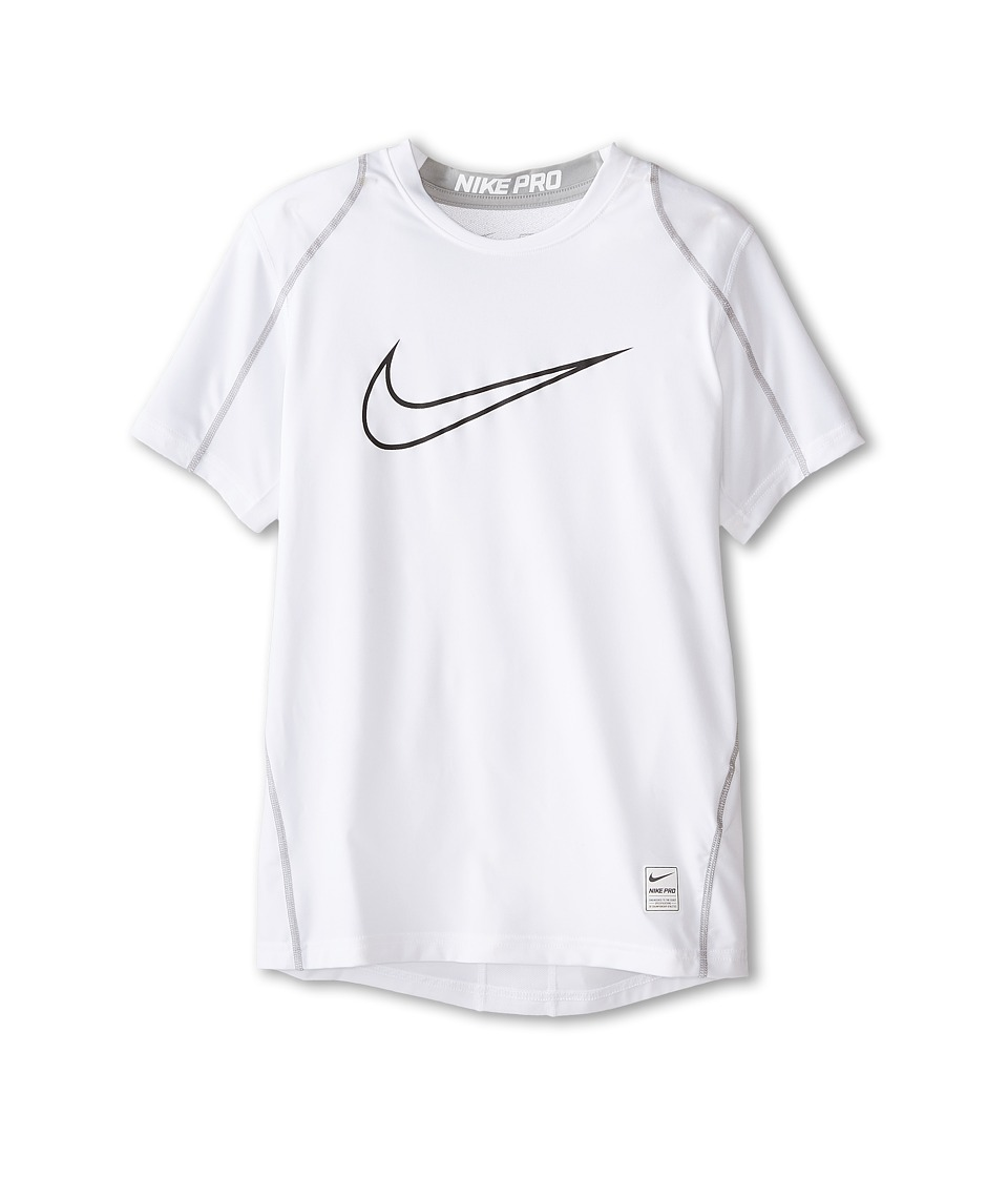 Nike Kids Cool HBR Fitted S/S Youth Little Kids/Bigs Kids White/Matte Silver/Black Boys T Shirt
