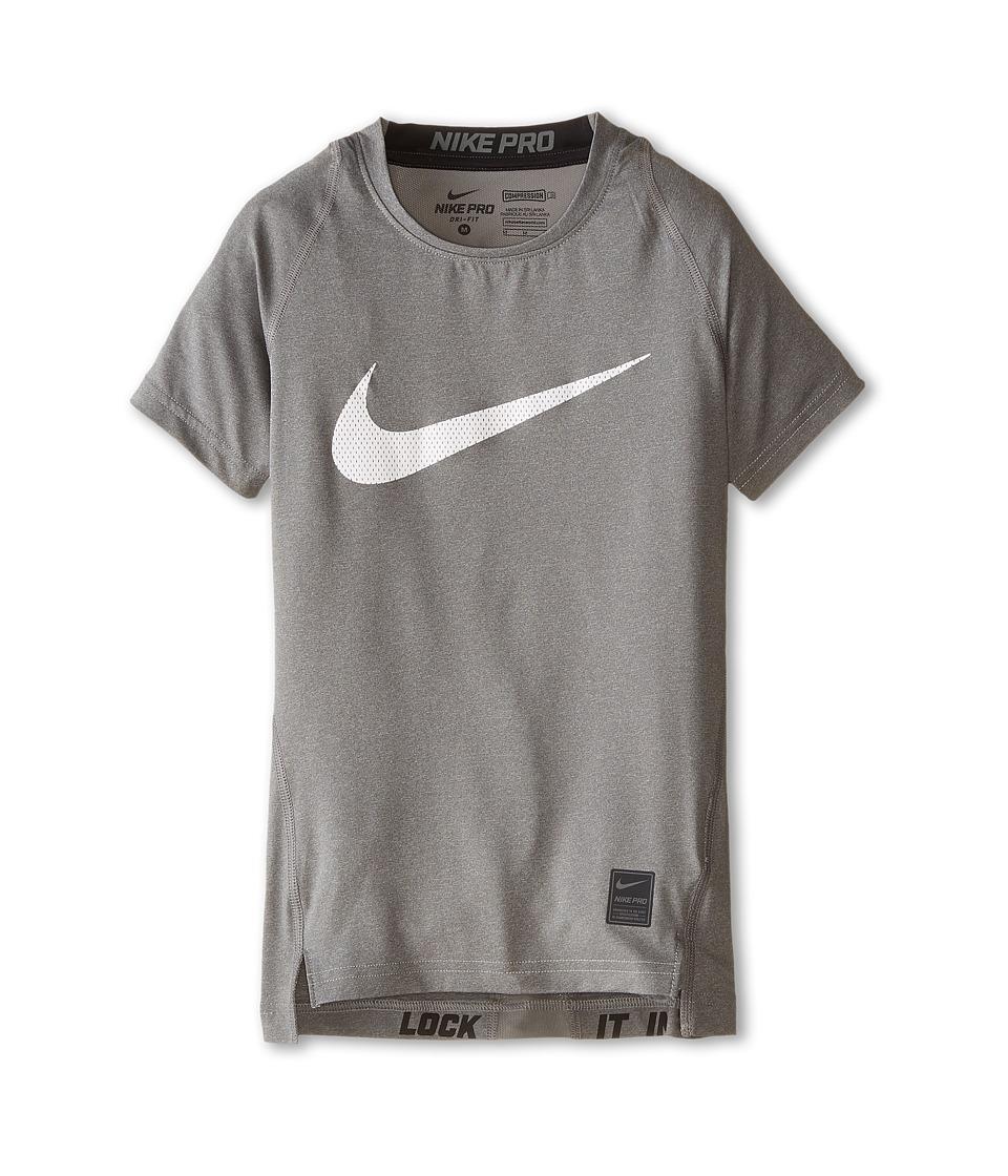 Nike Kids Cool HBR Compression S/S Youth Little Kids/Big Kids Carbon Heather/Black/White Boys T Shirt