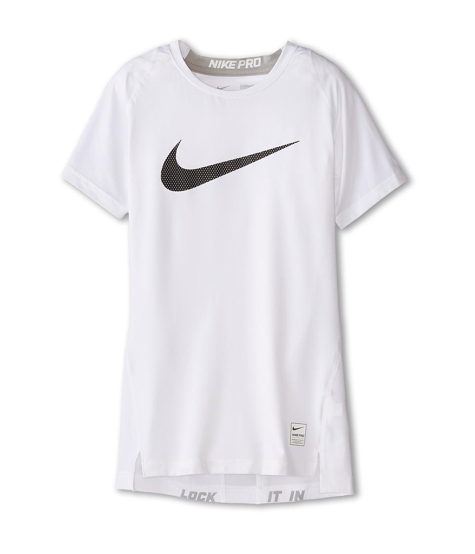 Nike Kids Cool HBR Compression S/S Youth Little Kids/Big Kids White/Matte Silver/Black Boys T Shirt