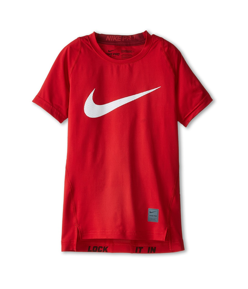 Nike Kids Cool HBR Compression S/S Youth Little Kids/Big Kids Gym Red/Team Red/White Boys T Shirt