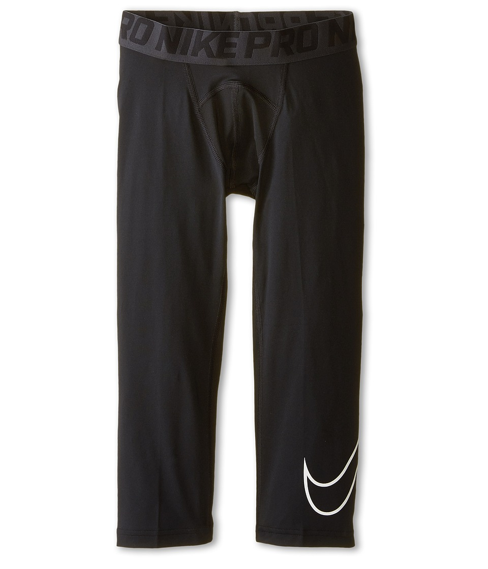 Nike Kids - Cool HBR Compression 3/4 Tight Youth (Little Kids/Big Kids) (Black/White) Boys Casual Pants