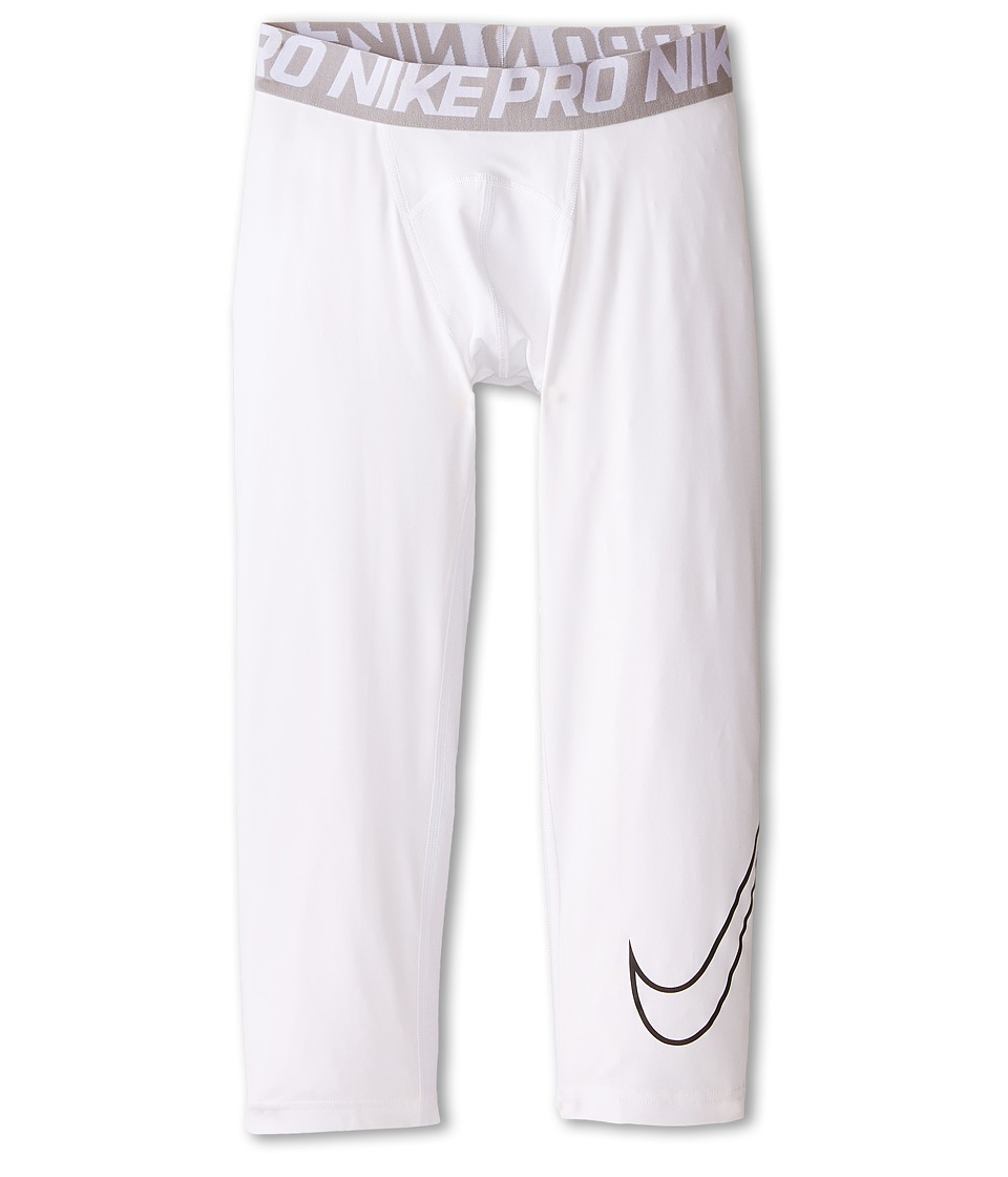 Nike Kids Cool HBR Compression 3/4 Tight Youth Little Kids/Big Kids White/Black Boys Casual Pants
