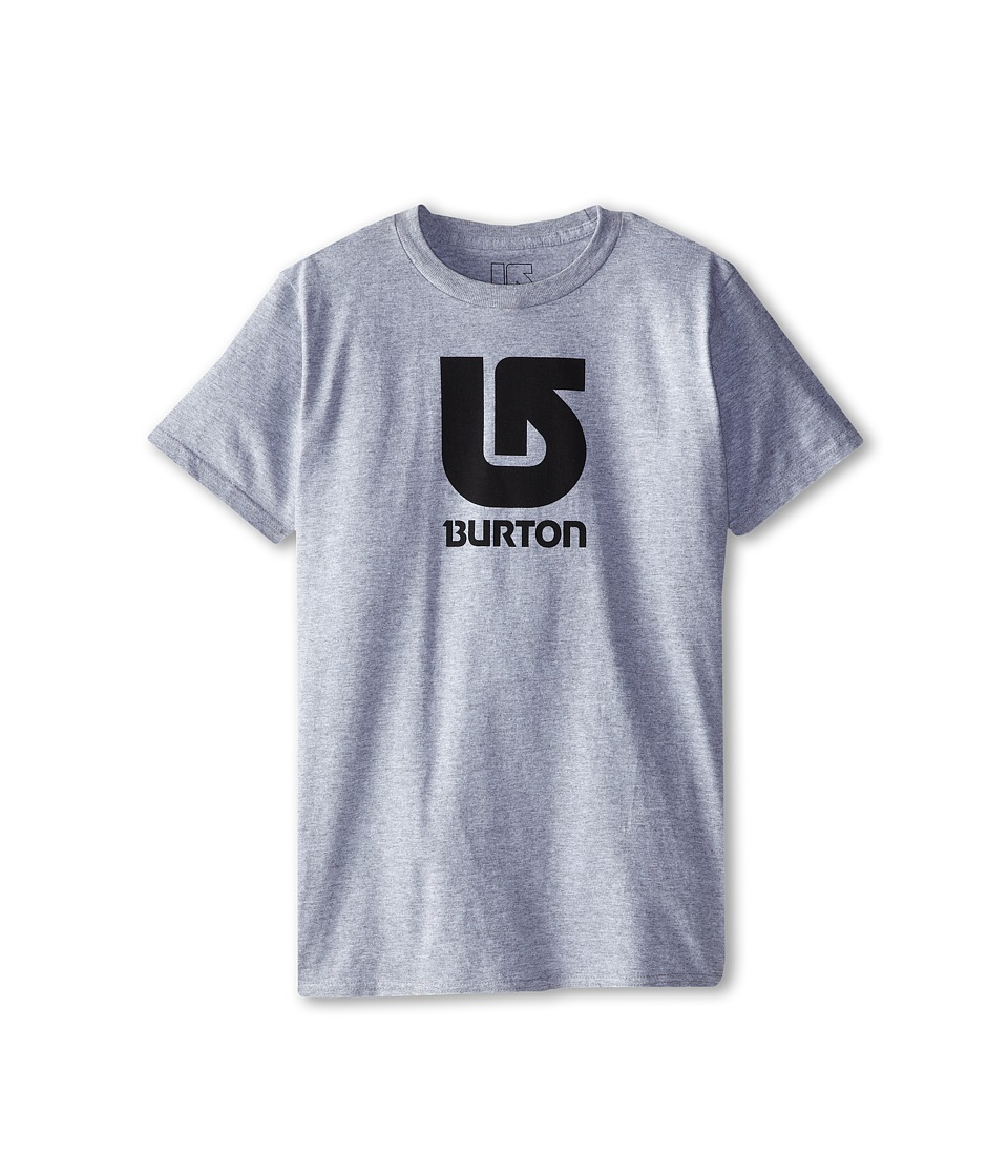Burton Kids Logo Vertical S/S Tee Big Kids Grey Heather Boys Short Sleeve Pullover