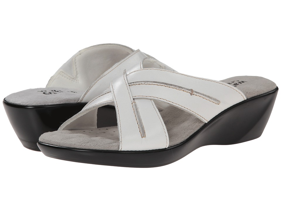 Walking Cradles Chase White Burnished Leather Womens Slide Shoes