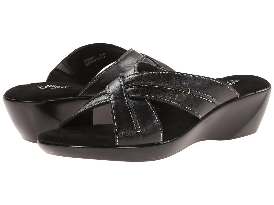 Walking Cradles Chase Black Burnished Leather Womens Slide Shoes