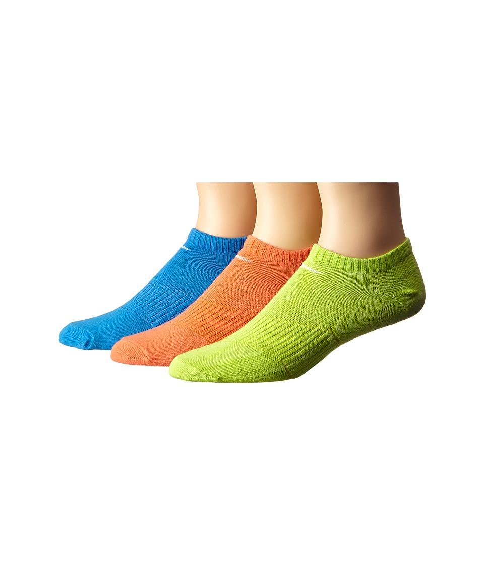 Nike Kids Lightweight Cotton Cushion No Show 3 Pair Pack Toddler/Little Kid/Big Kid Light Photo Blue/White/Cyber/White/Light Bright Crimson/White Kids Shoes