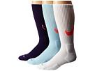 Nike Dri-FIT Cotton Swoosh Crew 3-Pair Pack (Ink/Hot Lava/White/Hot Lava/Ice/Hot Lava)