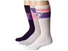 Nike Dri-FIT Crew Sock 3-Pair Pack (White/Persian Violet/White/Ink/Persian Violet/Grey Heather/Hot L)