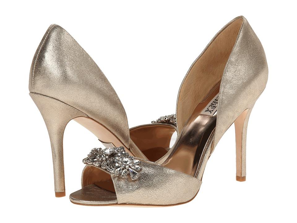 Badgley Mischka Giana II Platino Metallic Suede High Heels