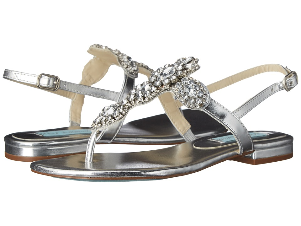 Blue by Betsey Johnson Gem Silver Metallic Womens Sandals