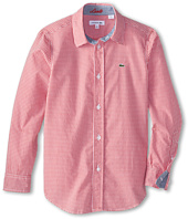 Lacoste Kids - L/S Woven Poplin Mini Check Shirt (Little Kids/Big Kids)
