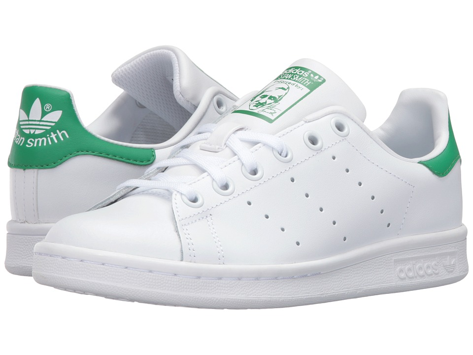 adidas Originals Kids Stan Smith (Big Kid) (White/White/Green) Kids Shoes