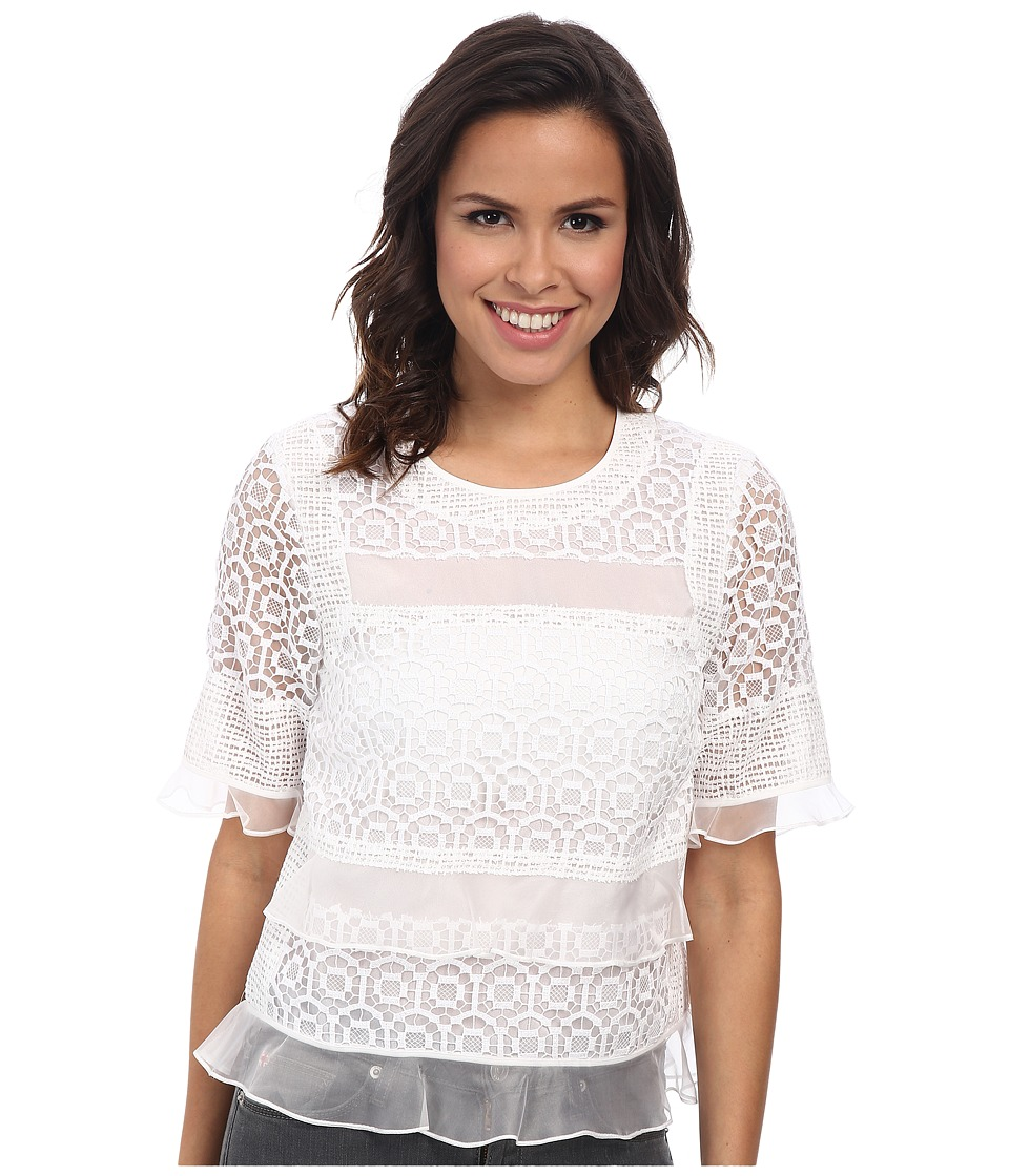 Image of Rebecca Taylor Short Sleeve Tile Lace Ruffle Top (Sea Salt) Women's Short Sleeve Pullover