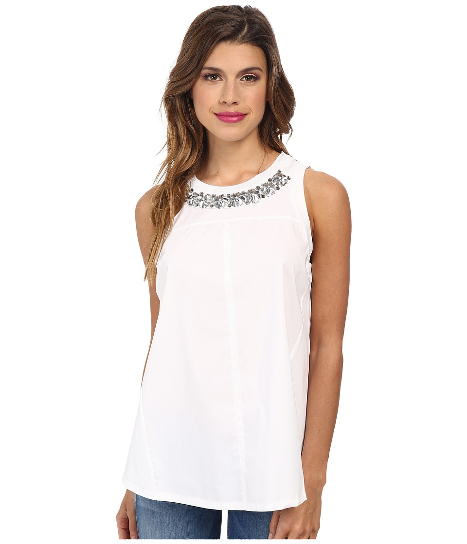Rebecca Taylor Sleeveless Pop Crocus Embroidery Top (Sea Salt) Women's Sleeveless
