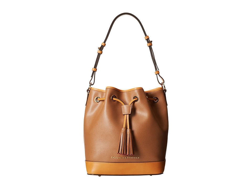 Dooney amp Bourke Claremont Drawstring Tan w/ Butterscotch Trim Shoulder Handbags