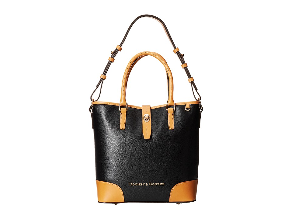 Dooney & Bourke - Claremont Medium Cayden (Black w/ Butterscotch Trim) Handbags