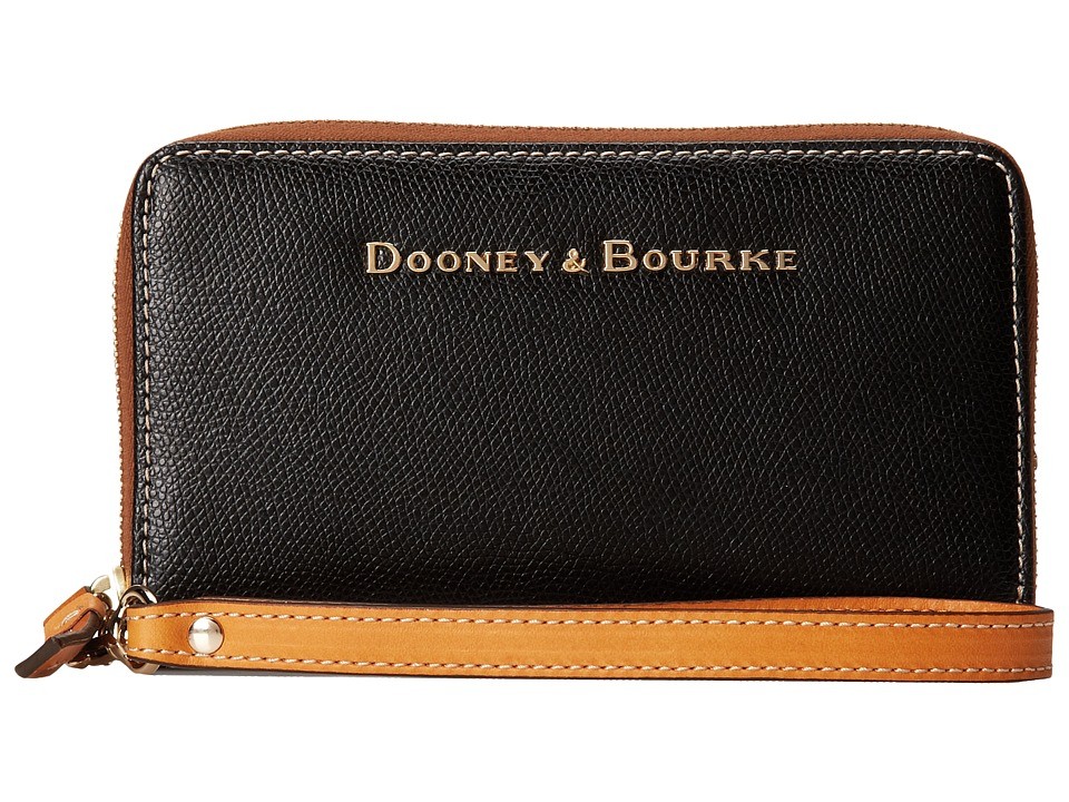 Dooney amp Bourke Claremont Zip Around Credit Card Phone Wristlet Black w/ Butterscotch Trim Wristlet Handbags