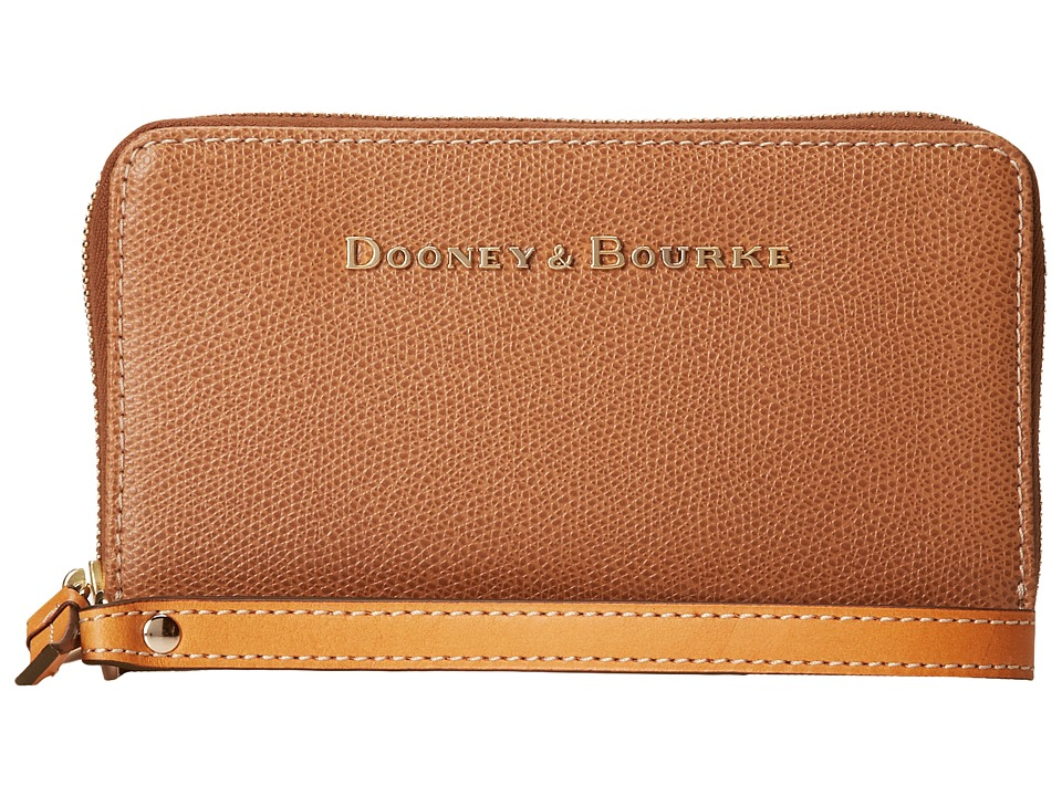 Dooney amp Bourke Claremont Zip Around Credit Card Phone Wristlet Tan w/ Butterscotch Trim Wristlet Handbags