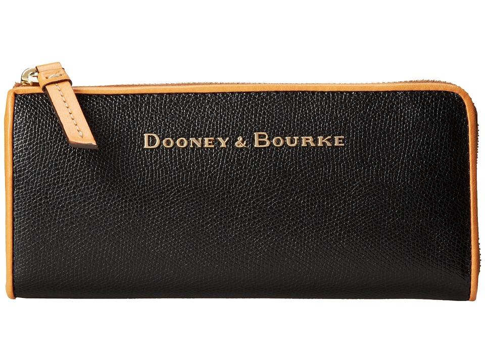 Dooney amp Bourke Claremont Zip Clutch Black w/ Butterscotch Trim Clutch Handbags