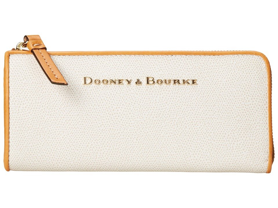 Dooney amp Bourke Claremont Zip Clutch Bone w/ Butterscotch Trim Clutch Handbags