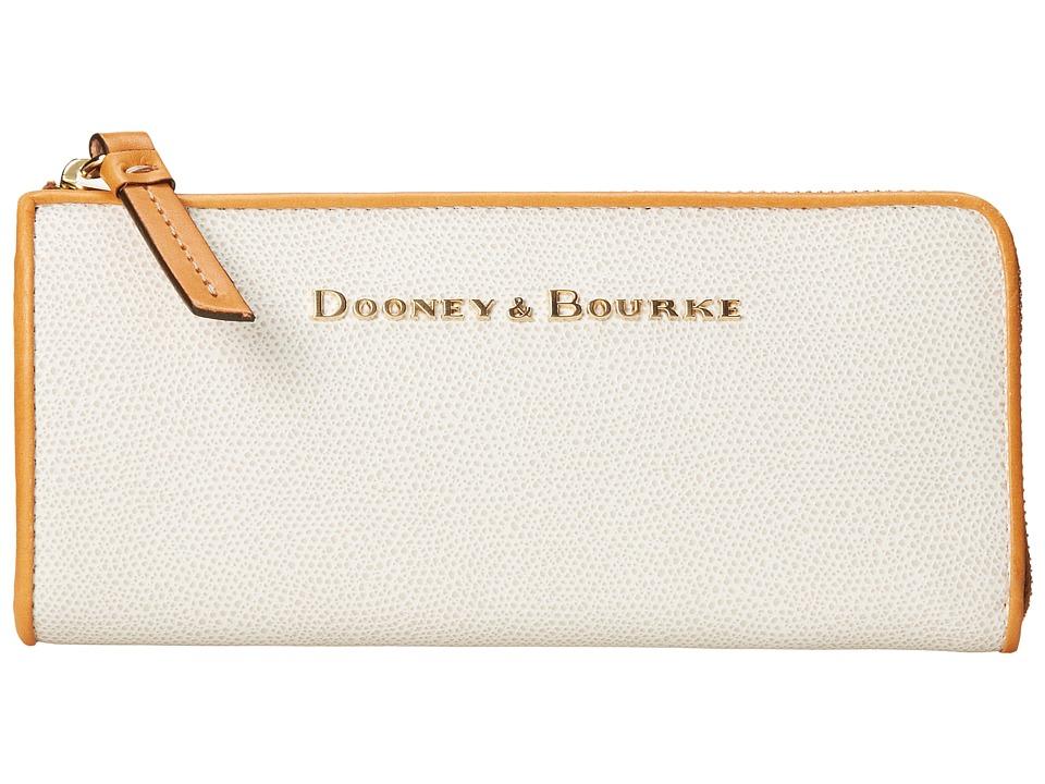 Dooney amp Bourke Claremont Zip Clutch Bone w/ Butterscotch Trim Clutch Handbags