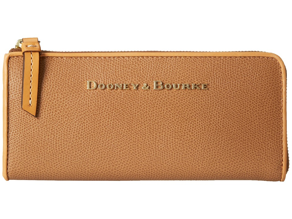 Dooney amp Bourke Claremont Zip Clutch Tan w/ Butterscotch Trim Clutch Handbags