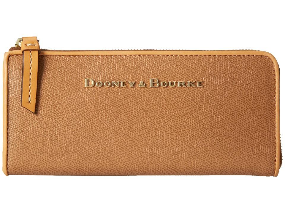Dooney amp Bourke Claremont Zip Clutch Tan w/ Butterscotch Trim Clutch Handbags