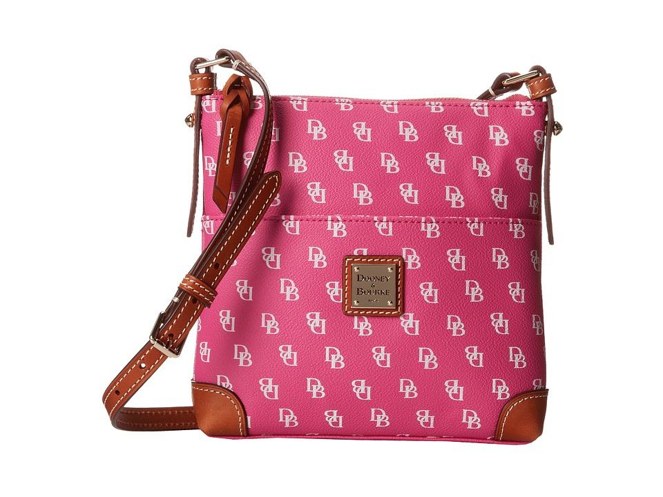 Dooney amp Bourke Letter Carrier Fuchsia/White w/ Tan Trim Handbags