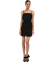 Vera Wang - Bib Neck Mini Shift Dress w/ Passementiere