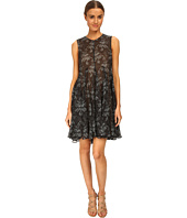 Vera Wang - Printed Gauze Sleeveless Trapeze Dress