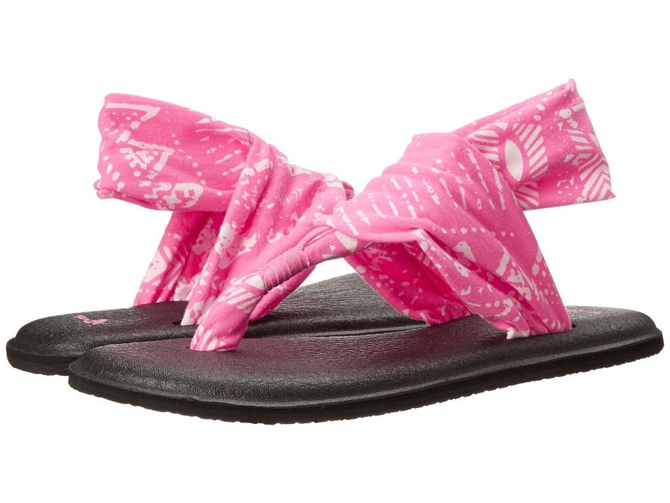 Sanuk Yoga Sling 2 Prints Hot Pink Tribal Womens Sandals