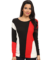 TWO by Vince Camuto - Hi-Lo Color Block Intarsia Pullover