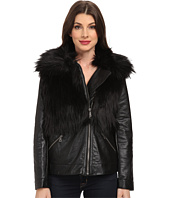 TWO by Vince Camuto - Oversized Pleather Coat with Faux Fox Fur
