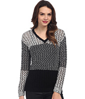 TWO by Vince Camuto - Color Block Stitch Interest V-Neck Pullover