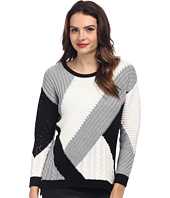 TWO by Vince Camuto - Diagonal Color & Stitch Blocked Pullover