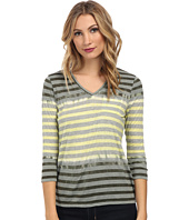 TWO by Vince Camuto - 3/4 Sleeve V-Neck Feeder Stripe Tee