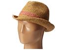 Hat Attack Raffia Crochet Fedora w/ Inset Trim (Mocha/Coral)