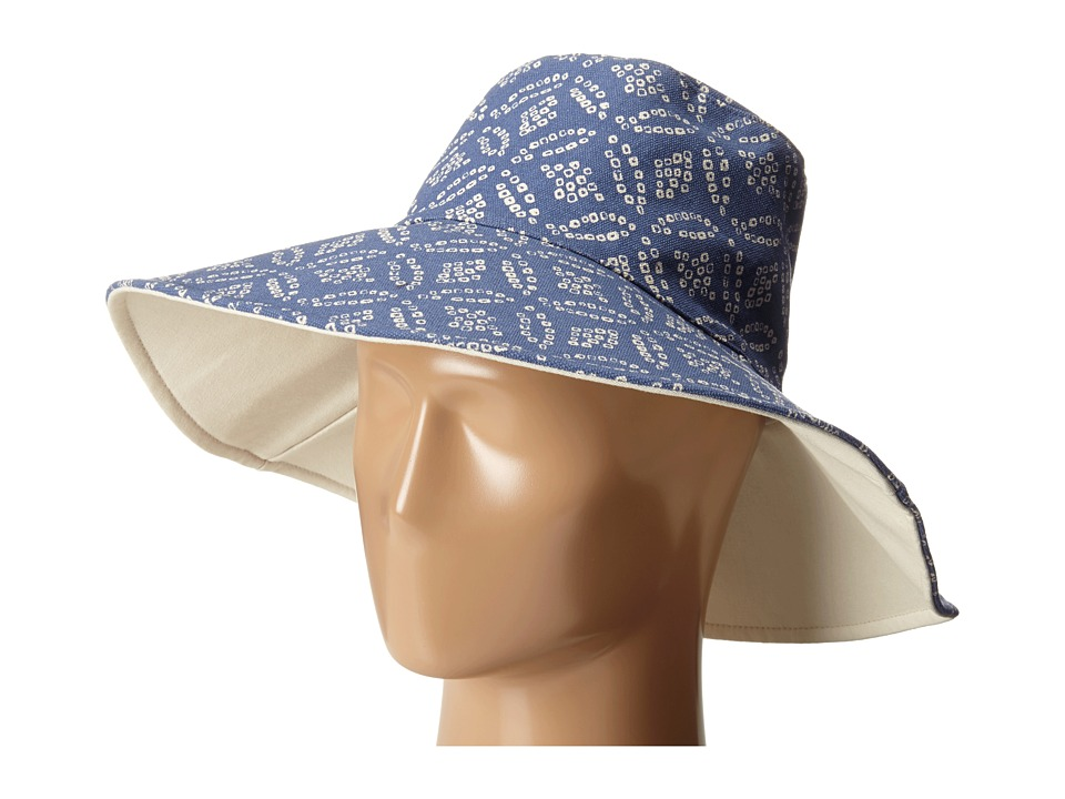Hat Attack Canvas Reversible Sunhat Blue Dot Traditional Hats