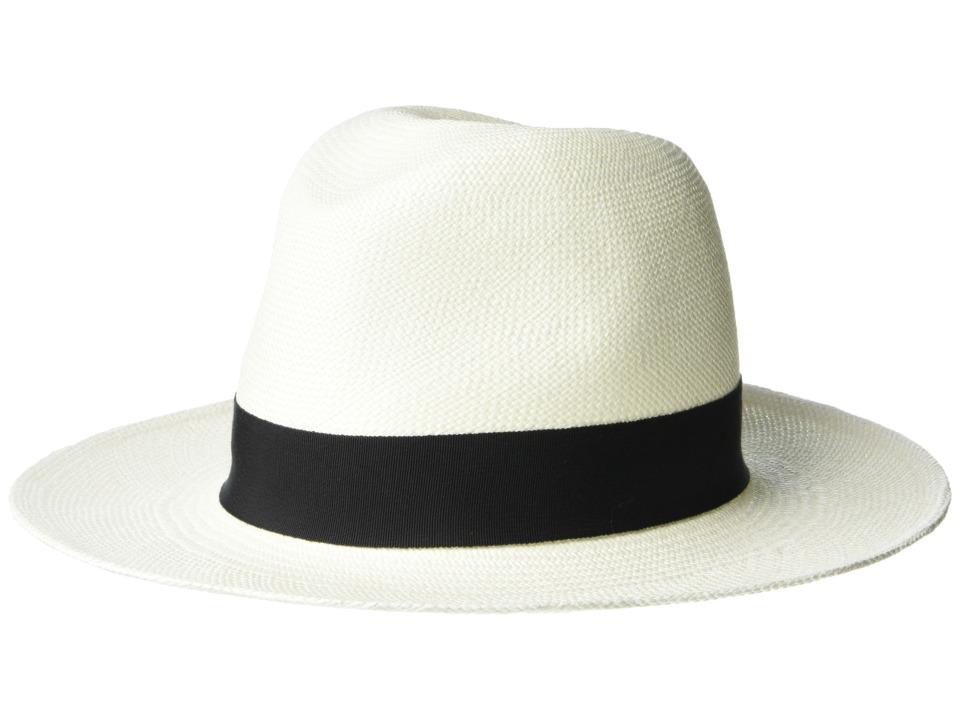 Hat Attack Panama Continental Bleach/Black Classic Ribbon Traditional Hats